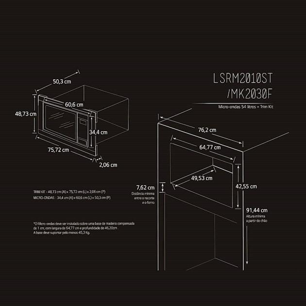Microondas de Embutir LG Studio 54 Litros com Trim Kit 90cm - 110v