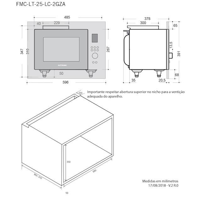 Microondas Elettromec Luce 25 Litros Built-in 60cm - 220v
