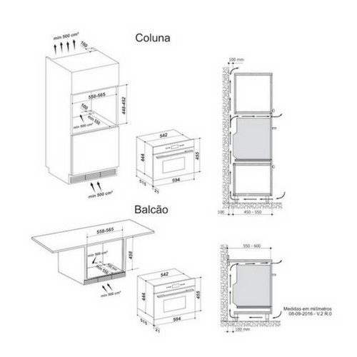 Microondas de Embutir Nero 34 Litros Built-in 15 Funções 60cm  - 220v - Elettromec