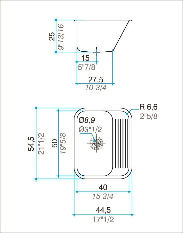 Tanque simples inox 304 polido 55cm - Johnson Acero