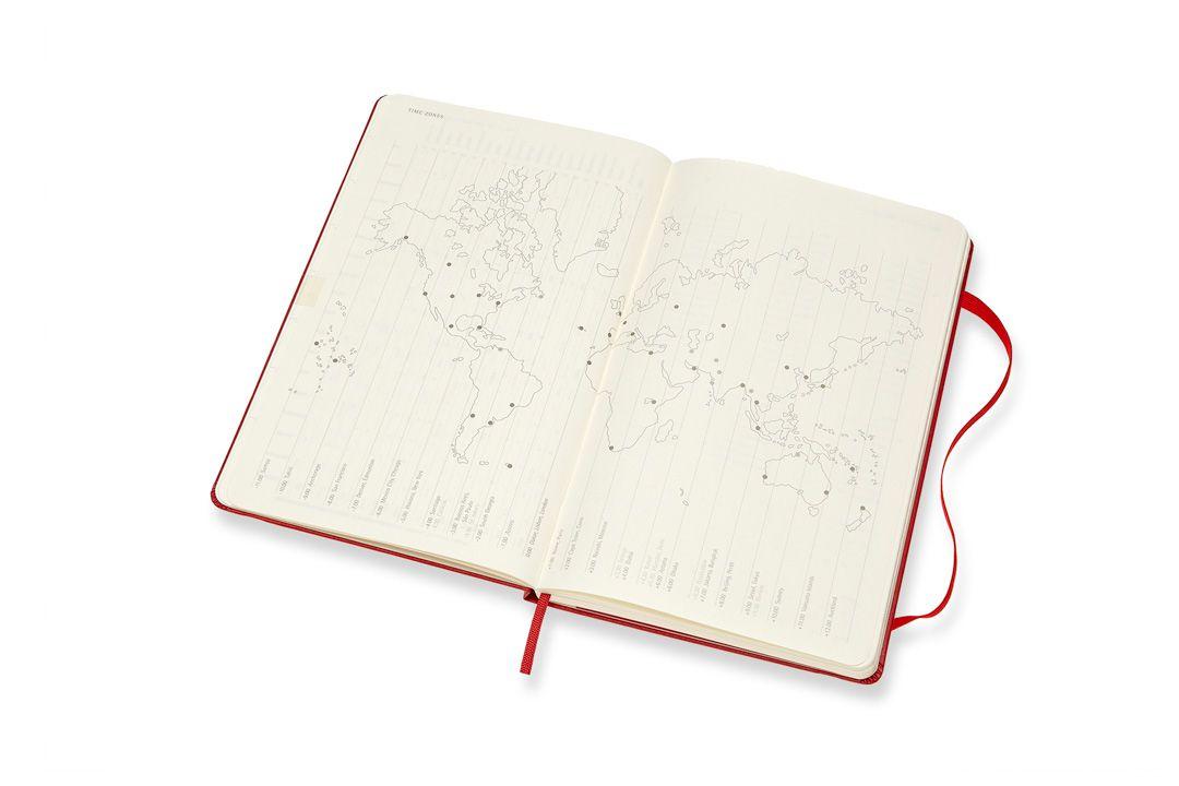 Agenda Moleksine 2019, Semanal Horizontal, 12 meses, Tamanho Grande (13 cm x 21 cm), Vermelho Escarlate, Capa Dura