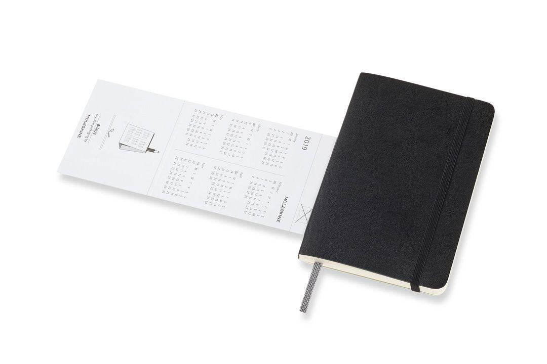 Agenda Moleskine 2019, Semanal Horizontal, 12 meses ,Tamanho Bolso (9 cm x 14 cm), Preta, Capa Flexível