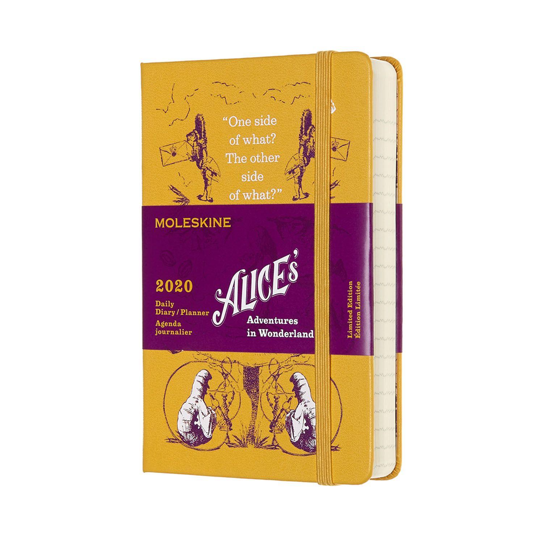 Agenda Moleskine Diária 12M, Edição Limitada Alice, Bolso, Amarela, Capa Dura