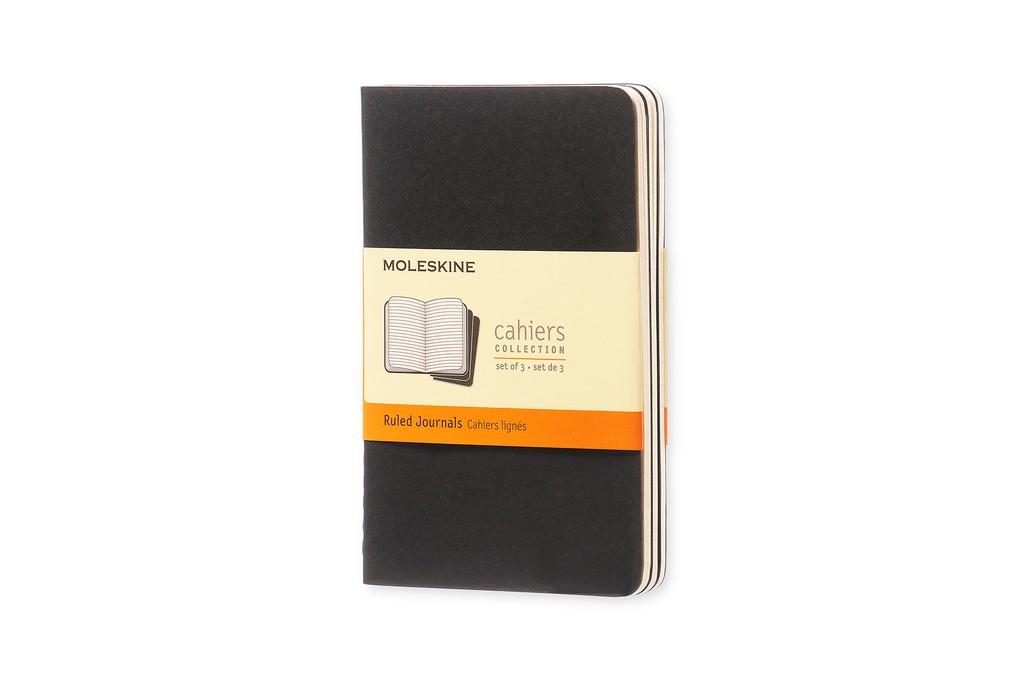 Caderneta Moleskine Cahier, Preto, Conjunto com 3 Unidades