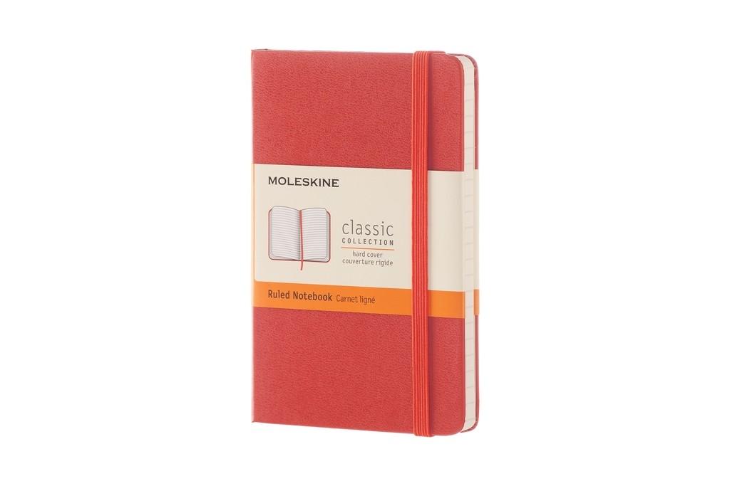 Caderno Moleskine Clássico, Laranja Coral, Capa Dura