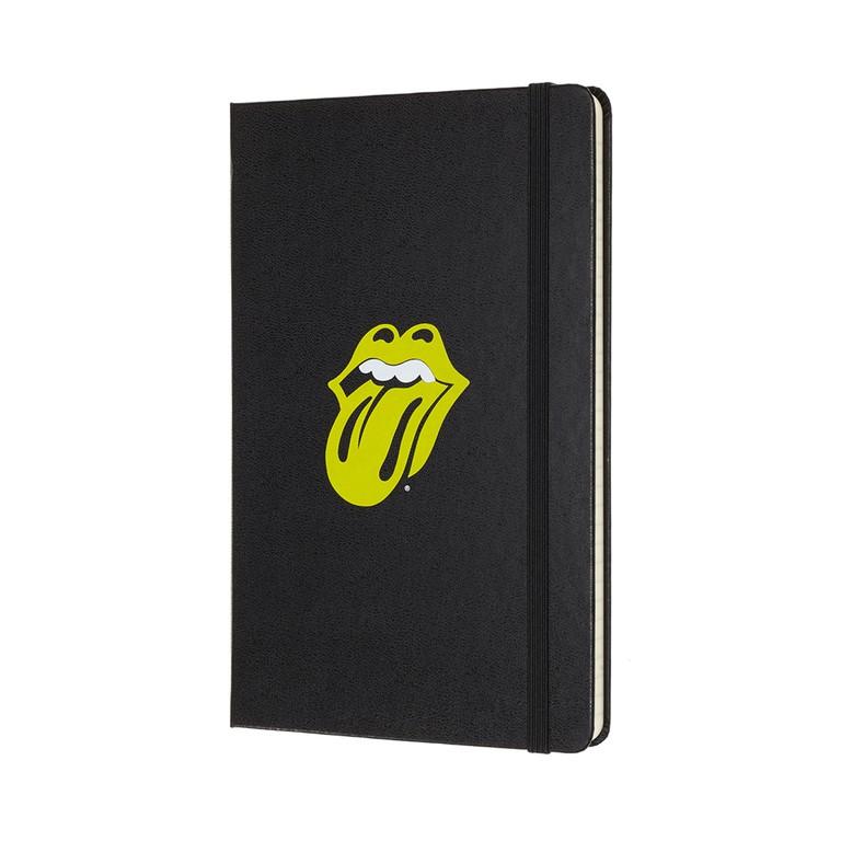 Caderno Edição Limitada, Rolling Stones, Couro Preto, Capa Dura, Pautado, Grande