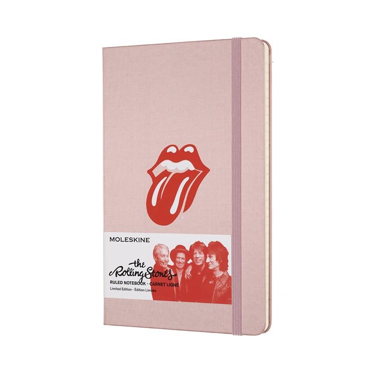 Caderno Moleskine Edição Limitada, Rolling Stones, Silk Rosa, Capa Dura, Pautado, Grande