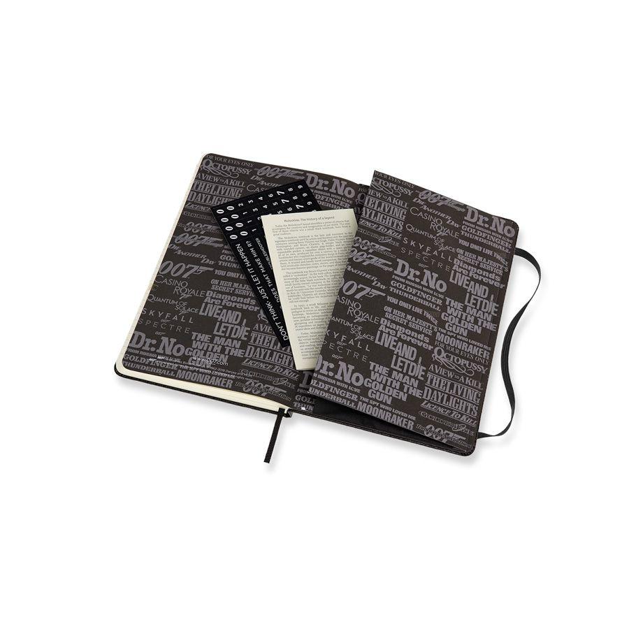 Caderno Moleskine, Edição Limitada James Bond, Visual de Carbono Preto, Pautado, Grande (13 x 21 cm)