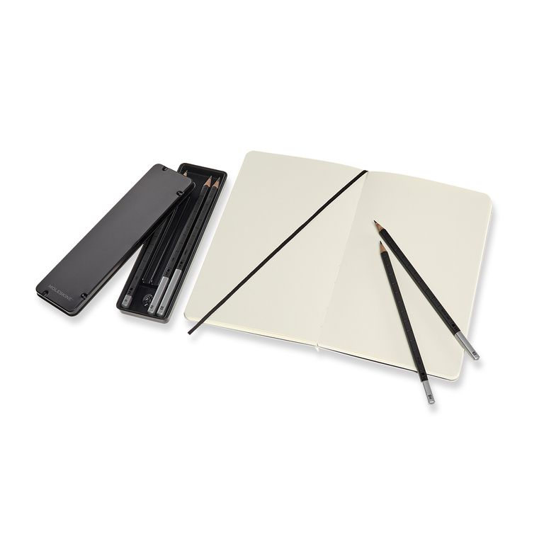 Caixa do Colecionador Moleskine, Edição Limitada Looney Tunes, Caderno de Esboços (Sketchbook) Grande (13 x 21 cm) com capa em tecido + Conjunto de Lápis Grafite (5 Lápis para Desenho)