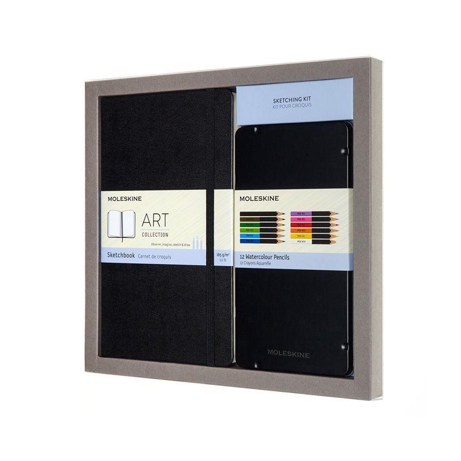 Kit para Esboços Moleskine, Coleção Art Plus: Caderno de Esboços (Sketchbook) Grande (13 x 21 cm) + Conjunto de Lápis de Cor (12 lápis aquareláveis)