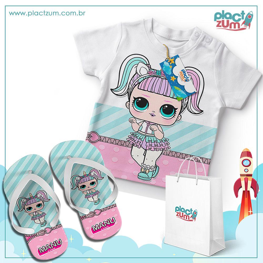 Kit Presente Camiseta e Chinelo Infantil LOL Surprise  - PLACT ZUM