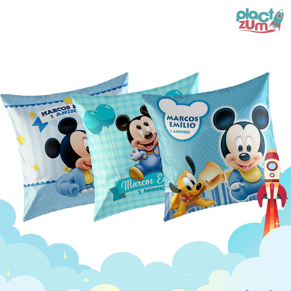 Kit Presente Mickey Baby Com 3 Almofadas  - PLACT ZUM