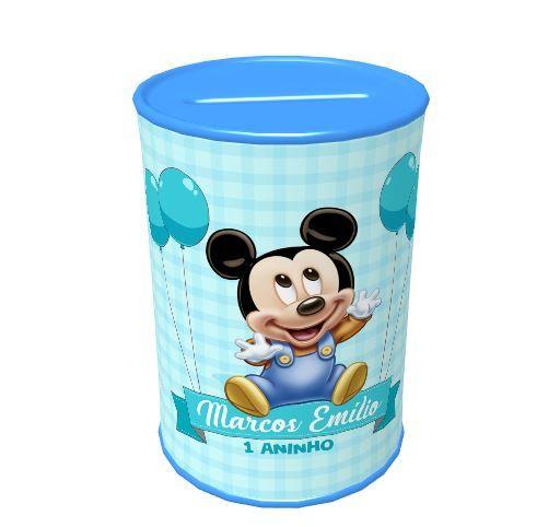 Kit Presente Mickey Baby Com Almofada + Sacola de Tactel OU Mochila Saco + Cofrinho  - PLACT ZUM