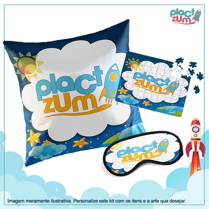 Kit Presente Plact Zum Almofada + Quebra-Cabeça + Máscara de Dormir Com a Sua Própria Arte  - PLACT ZUM