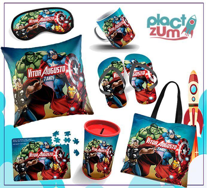Kit Presente Vingadores Com Almofada (Padrão ou Pescoço) + Sacola + Máscara + Cofrinho + Quebra-Cabeça + Chinelo + Caneca  - PLACT ZUM
