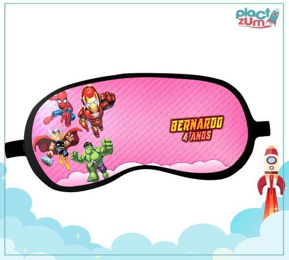 Máscara de Dormir Esquadrão de Heróis Tema Rosa  - PLACT ZUM