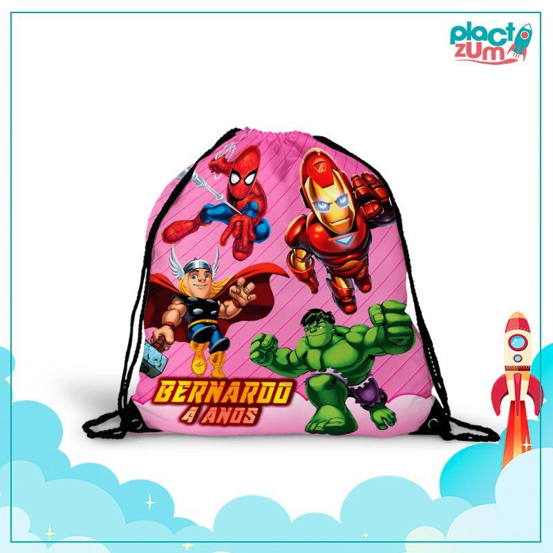 Mochila Saco Esquadrão de Heróis Tema Rosa  - PLACT ZUM