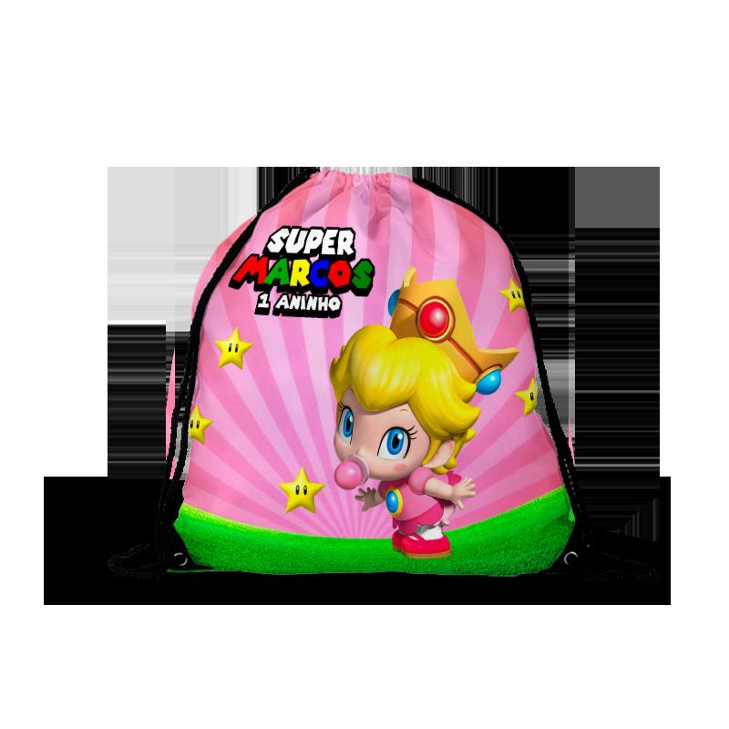 Mochila Saco Super Mário Baby Princesa  - PLACT ZUM