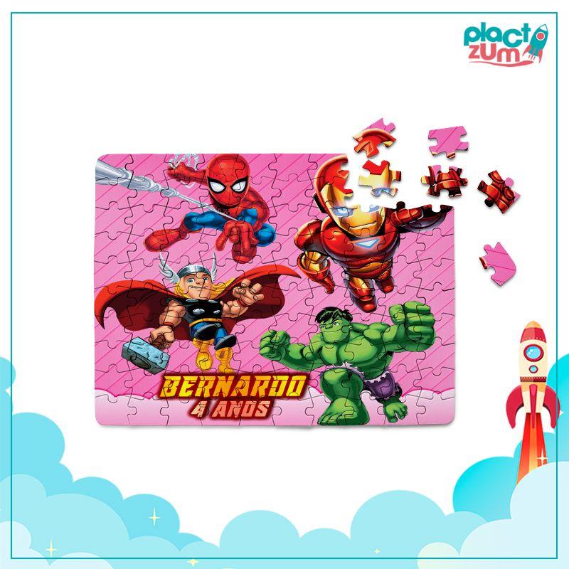 Quebra-Cabeça Esquadrão de Heróis Tema Rosa  - PLACT ZUM