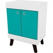 Balcão Bob 02 Portas Pés Palito Branco/Azul - Colibri Móveis
