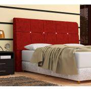 Cabeceira Pietra Solteiro 90 Cm Com Baú Interno Suede Amassado Vermelho - DS Móveis