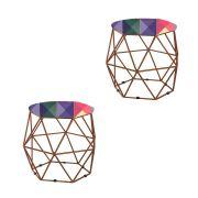 Kit 02 Puffs Aramado Bronze Assento Hexagonal Suede Triângulo Colorida - DS Móveis
