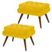 Kit 02 Puffs Decorativo Dora Suede Amarelo - DS Móveis