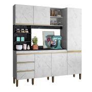 Kit Cozinha Compacta Atenas 1,80m Mármore Branco/Mármore Preto - Peternella Móveis