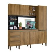 Kit Cozinha Compacta Atenas 1,80m Mármore Nature/Mármore Preto - Peternella Móveis