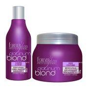 Kit Manutenção Desamarelador Platinum Blond Shampoo e Máscara 300ml - Forever Liss