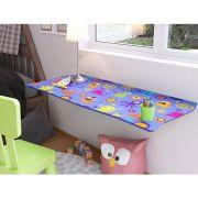 Mesa de Parede Dobrável com Cadeira em MDF Kids 70 cm - Gelecos
