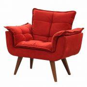 Poltrona Decorativa Opalla Suede Vermelho - DS Móveis