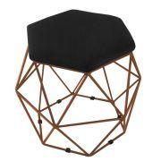 Puff Aramado Bronze Assento Hexagonal Corino Preto - DS Móveis