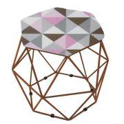 Puff Aramado Bronze Assento Hexagonal Suede Triângulo Rosa - DS Móveis