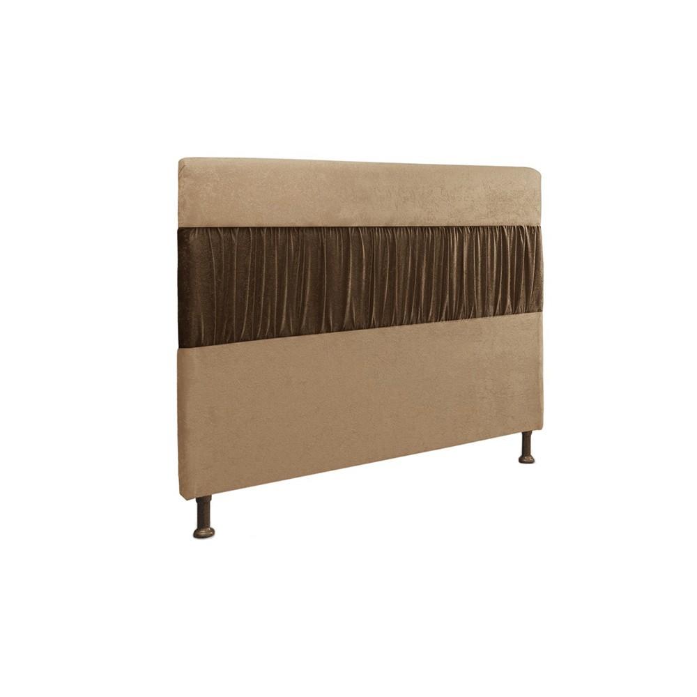 Cabeceira Casal 140cm Para Cama Box Isabela Suede Bege/Marrom - DS Móveis