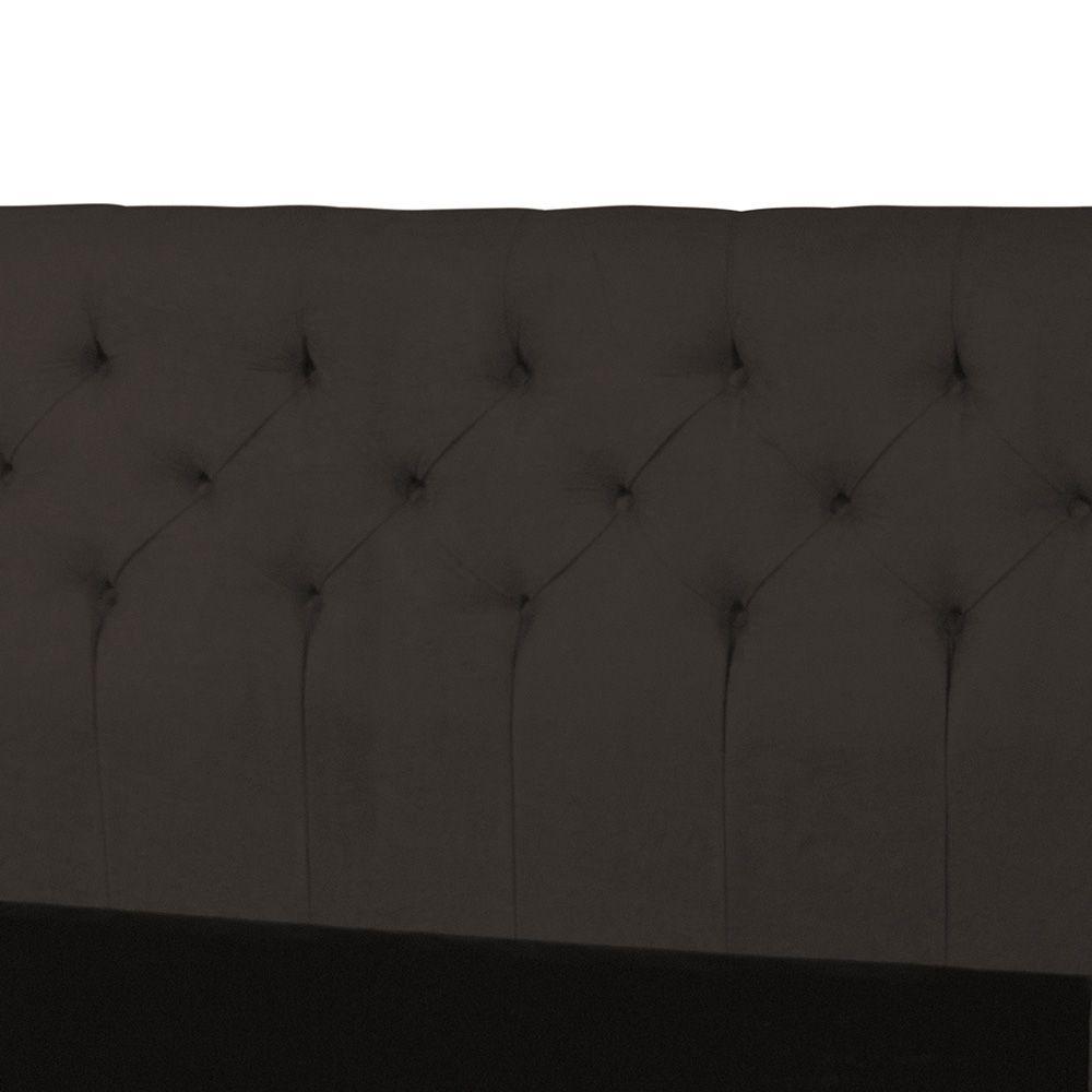 Cabeceira Casal 140cm Para Cama Box Ravena Suede Marrom - DS Móveis