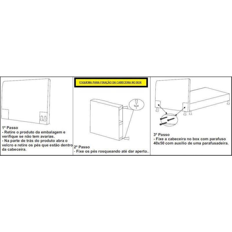 Cabeceira Casal King 193cm Para Cama Box Luna Suede Preto - DS Móveis