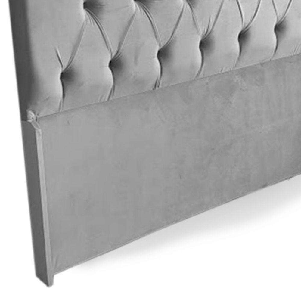 Cabeceira Casal Queen Bela 160cm Para Cama Box Suede Cinza - DS Móveis