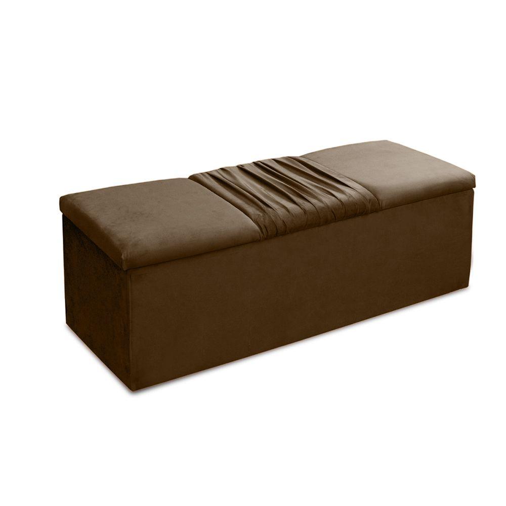 Cabeceira Mais Calçadeira Baú King 195cm Para Cama Box Vitória Suede Marrom Claro - DS Móveis