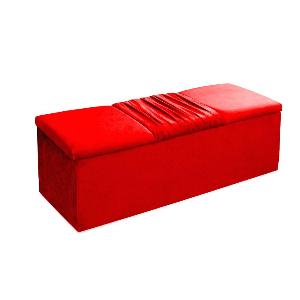Cabeceira Mais Calçadeira Baú King 195cm Para Cama Box Vitória Suede Vermelho - DS Móveis