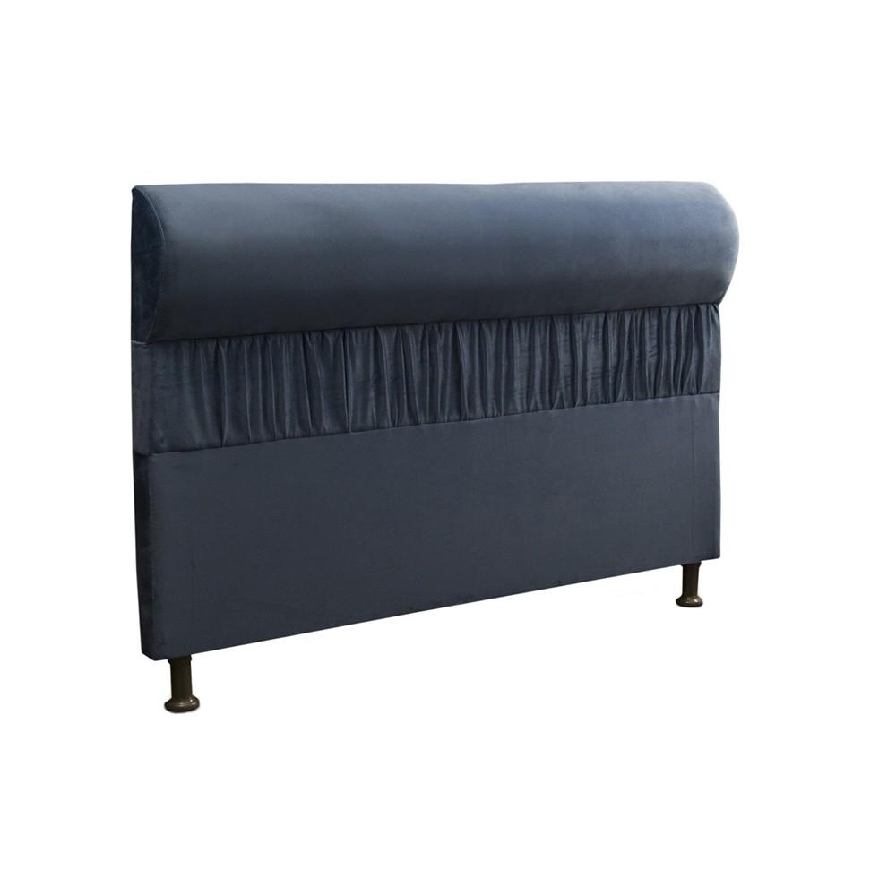Cabeceira Mais Calçadeira Baú King 195cm Para Cama Box Vitória Suede Azul - DS Móveis