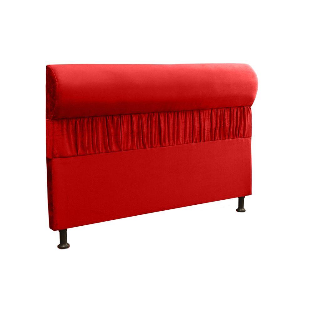 Cabeceira Solteiro 0,90cm Para Cama Box Vitória Suede Vermelho - DS Móveis