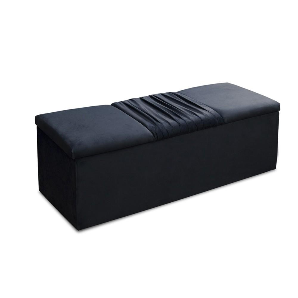 Calçadeira Recamier Baú Casal King 195cm Vitória Suede Azul - DS Móveis