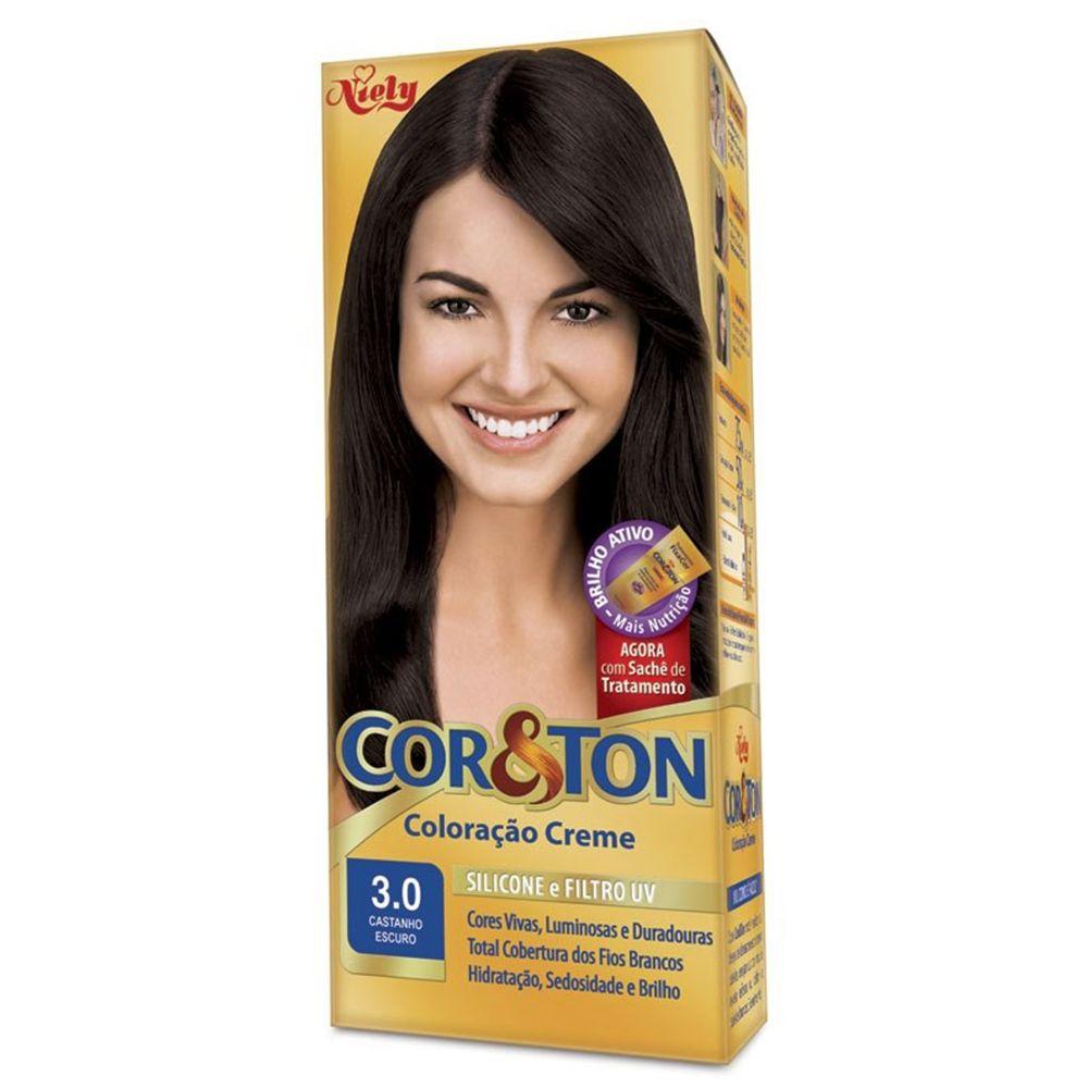 Coloração Creme Cor e Ton 3.0 Castanho Escuro - Niely