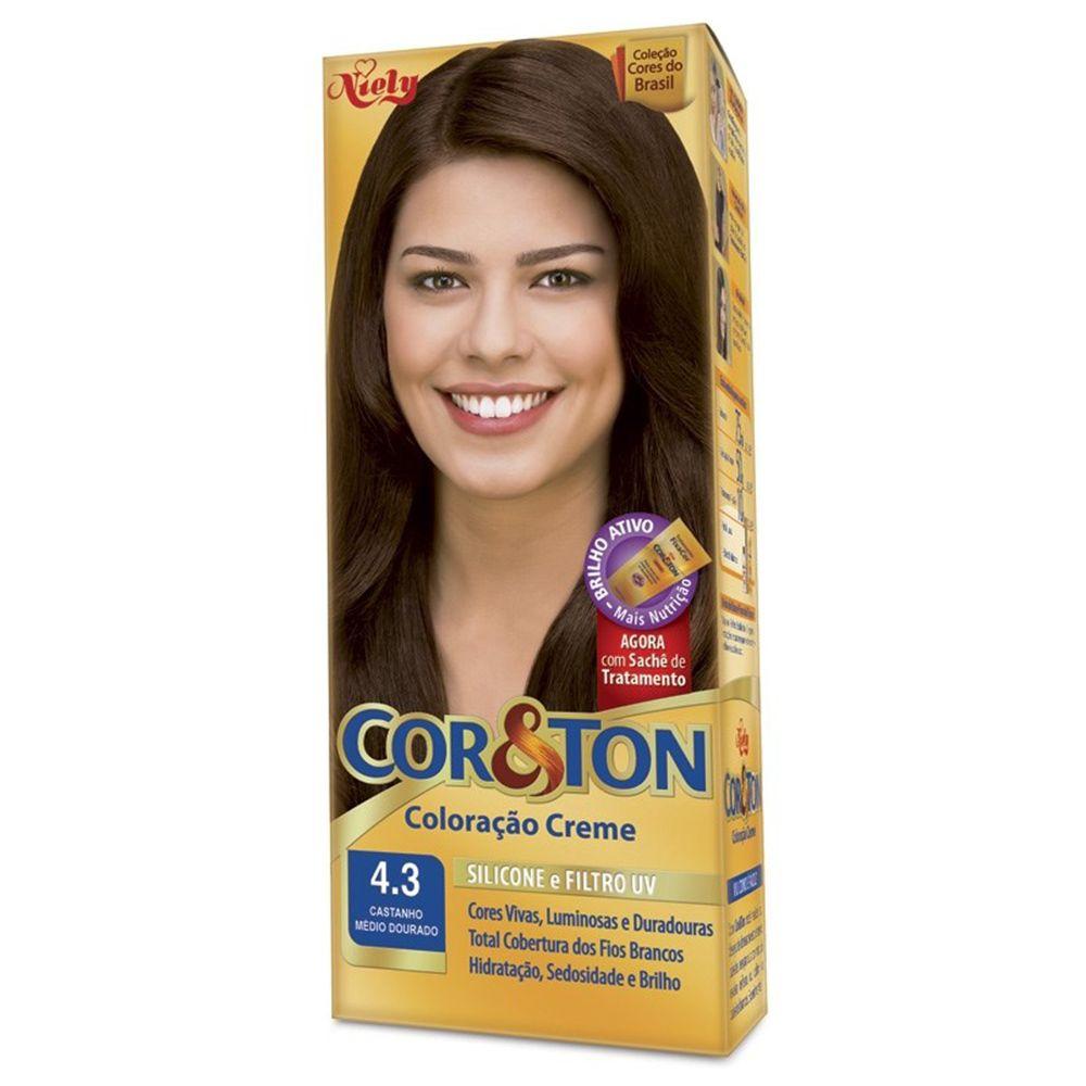 Coloração Creme Cor e Ton 4.3 Castanho Médio Dourado - Niely