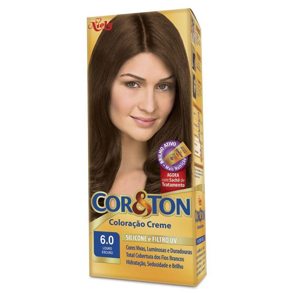 Coloração Creme Cor e Ton 6.0 Louro Escuro - Niely