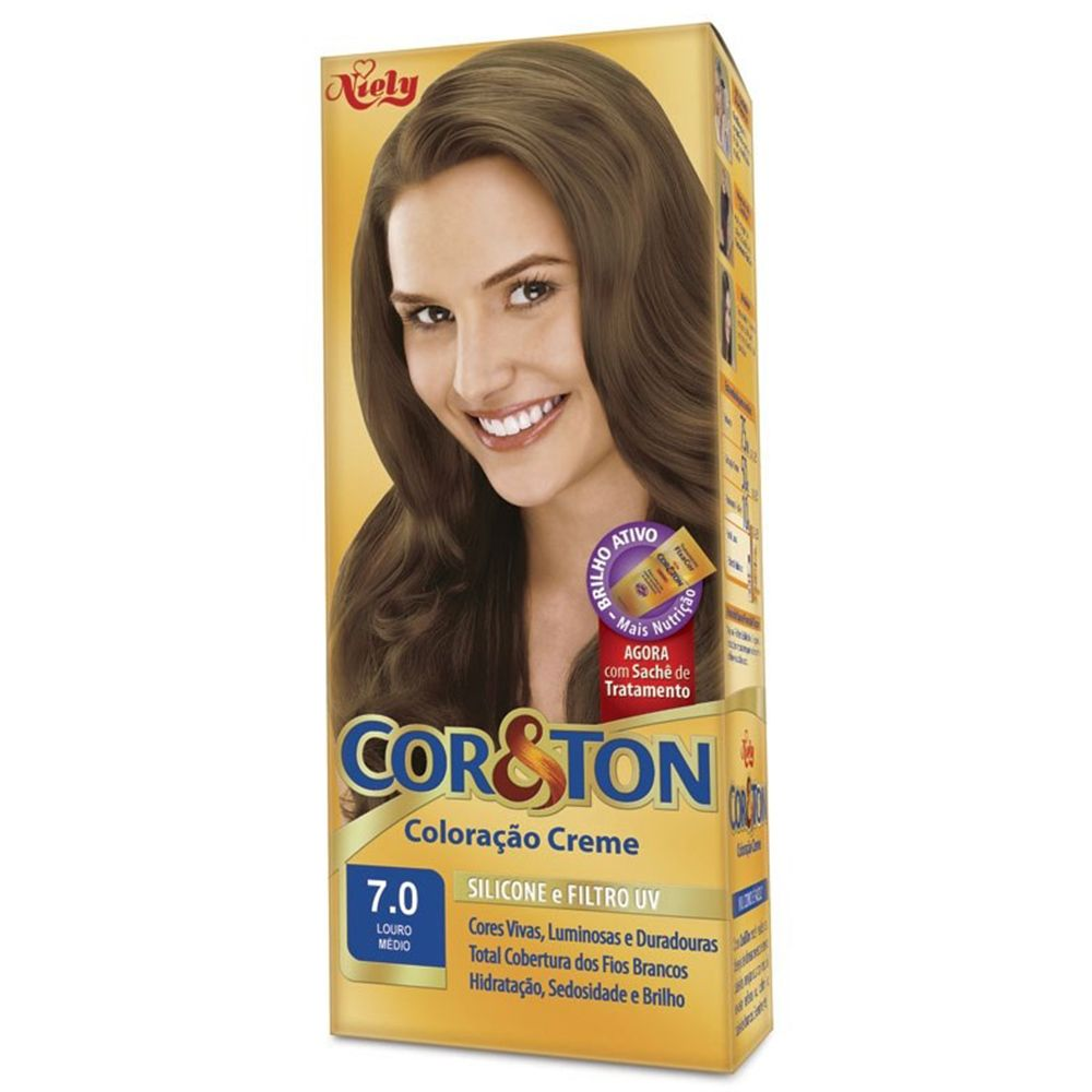 Coloração Creme Cor e Ton 7.0 Louro Médio - Niely