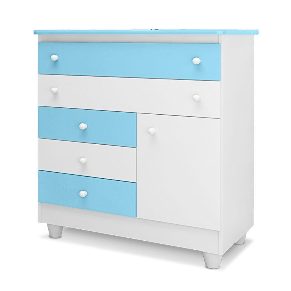 Cômoda Infantil 5 Gavetas e 1 Porta Adhara Branco/Azul - Peternella