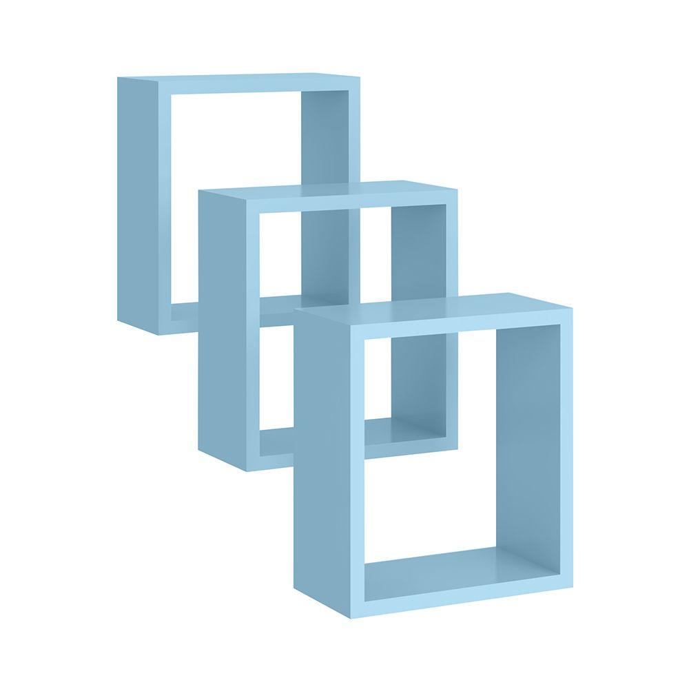 Conjunto de Nichos Quadrado 03 Peças Azul - Peternella