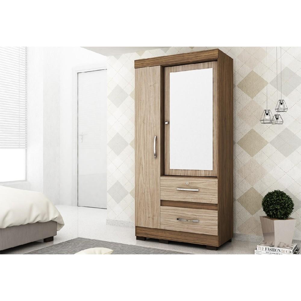 Guarda Roupas 02 Portas Solteiro Espelho Bário Malbec Fosco/Riviera - Colibri Móveis